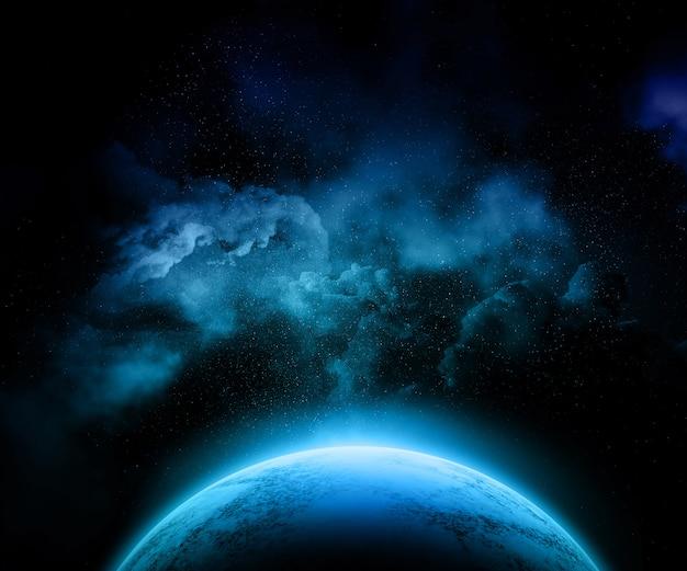 Planeta fictício com céu noturno colorido, estrelas e nebulosa Foto gratuita