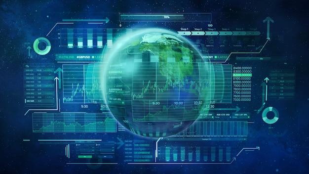 Planeta terra e dados de negócios infográficos que descrevem o movimento dos mercados de ações globais Foto Premium