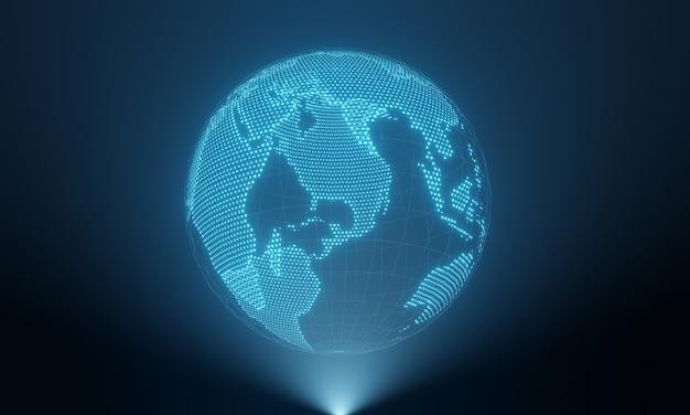 Planeta terra em exibição de holograma Foto Premium