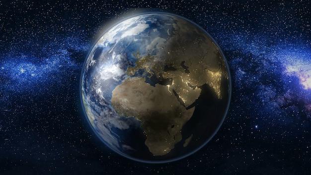 Planeta terra em preto e azul universo de estrelas Foto Premium