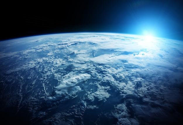 Planeta terra no espaço de renderização em 3d Foto Premium