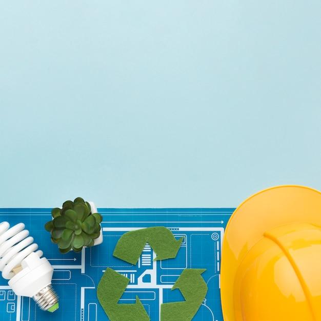 Plano de engenharia para ecologia com cópia-espaço Foto gratuita