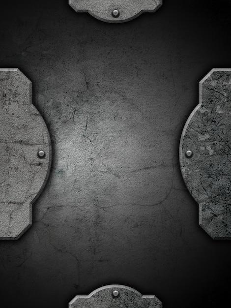 Plano de fundo texturizado grunge com moldura e rebites Foto gratuita