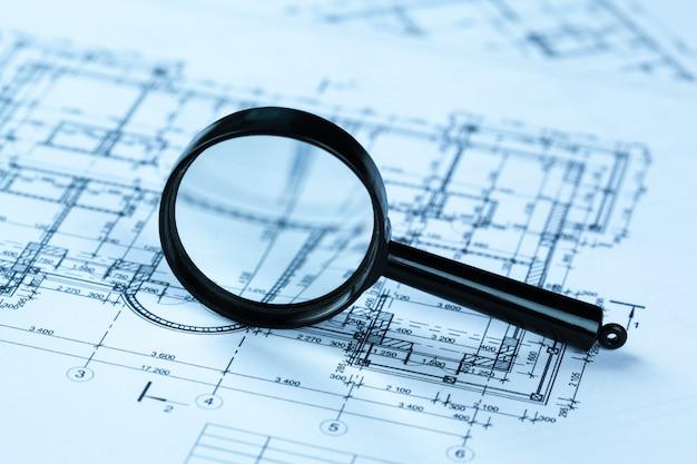 Planos de arquitetura azul Foto Premium