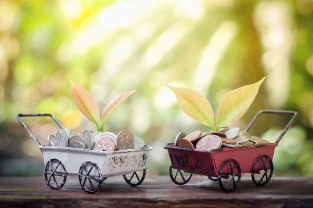 Planta que cresce em moedas de poupança no carrinho de mão para o conceito de negócio Foto Premium