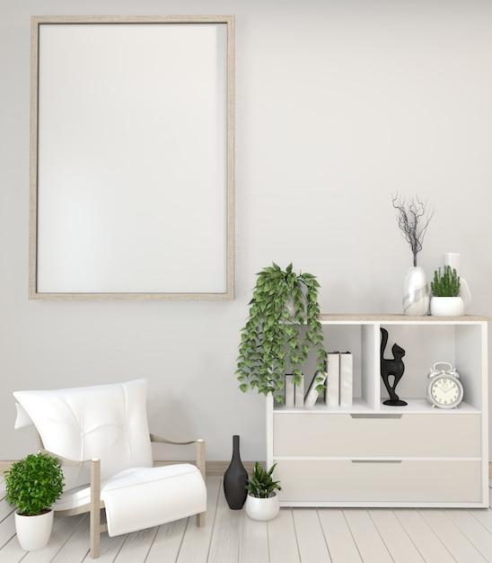 Plantas brancas do armário, do quadro, da cadeira e da decoração rendição do zen style.3d Foto Premium