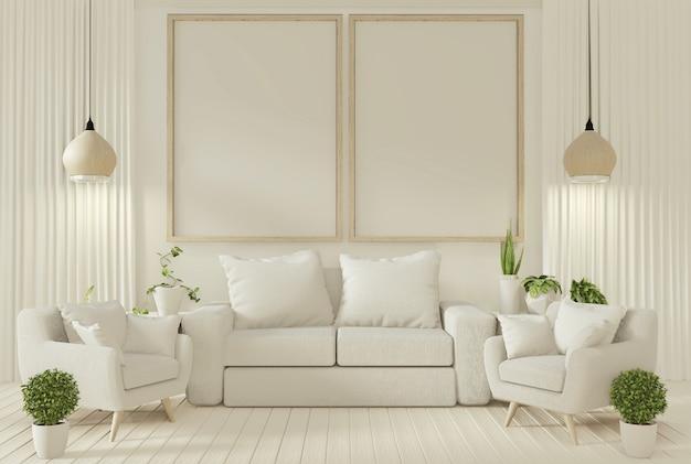 Plantas do sofá e da decoração na sala de visitas com parede branca. Foto Premium