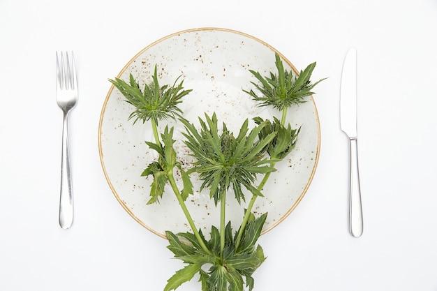 Plantas na placa Foto Premium