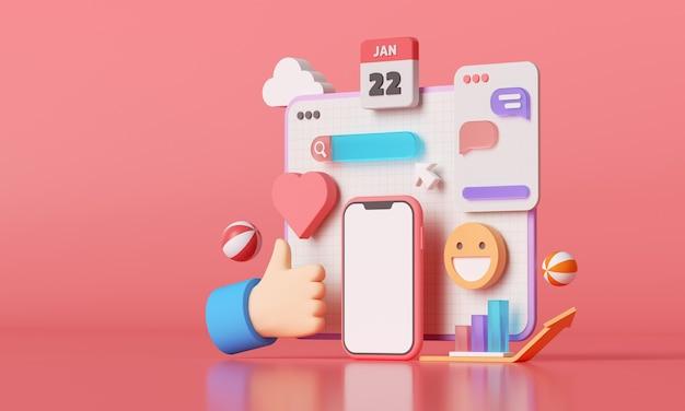 Plataforma de mídia social 3d, conceito de aplicativos de comunicação social online, emoji, página da web, ícones de pesquisa, bate-papo e gráfico com smartphone. renderização 3d Foto Premium