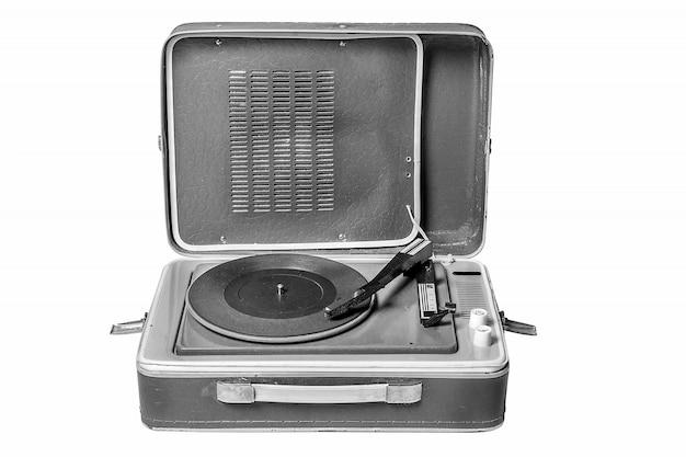 Plataforma giratória de jogador de música vintage em branco Foto Premium