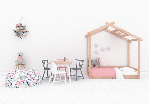 Playroom escandinavo com parede em branco Foto Premium