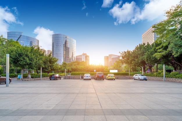 Plaza e arranha-céus modernos, xiamen cbd, fujian, china. Foto Premium