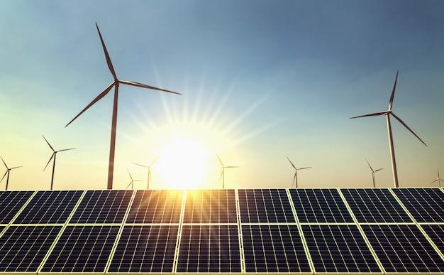 Poder da energia limpa do conceito na natureza. painel solar e turbina eólica com fundo sol Foto Premium