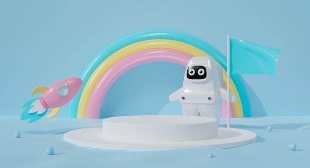Pódio 3d em fundo pastel. garoto astronauta de desenho animado e foguete. Foto Premium