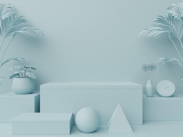 Pódio abstrato para colocação de produtos e colocação de prêmios em azul. Foto Premium
