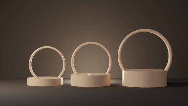 Pódio cilíndrico em tons pastéis suaves com formas circulares na sala escura Foto Premium