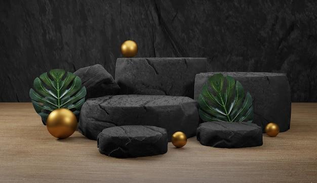 Pódio de pedra natural com folhas tropicais. pano de fundo para exibição de produtos, renderização em 3d Foto Premium