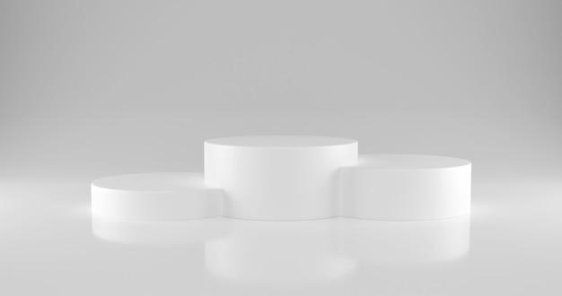 Pódio de vencedores de cilindro branco com três lugares no ranking. Foto Premium