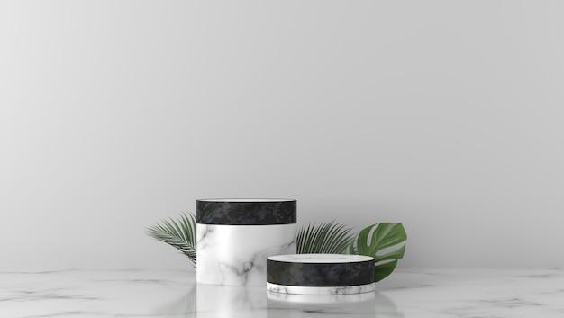 Pódio de vitrine de cilindro de mármore preto e branco de luxo em fundo branco Foto Premium