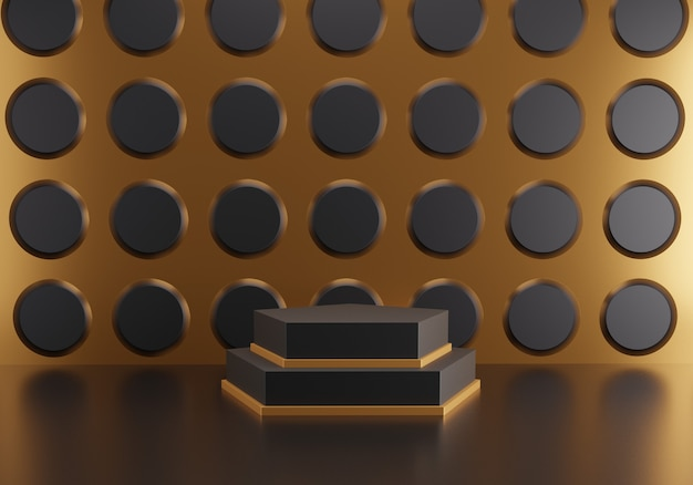 Pódio do hexágono abstrato no fundo do teste padrão do círculo preto. Foto Premium