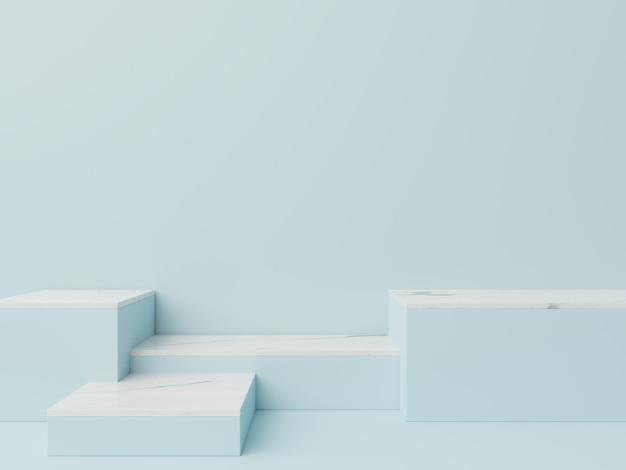 Pódio em resumo para colocação de produtos e colocação de prêmios com fundo azul, renderização em 3d Foto Premium
