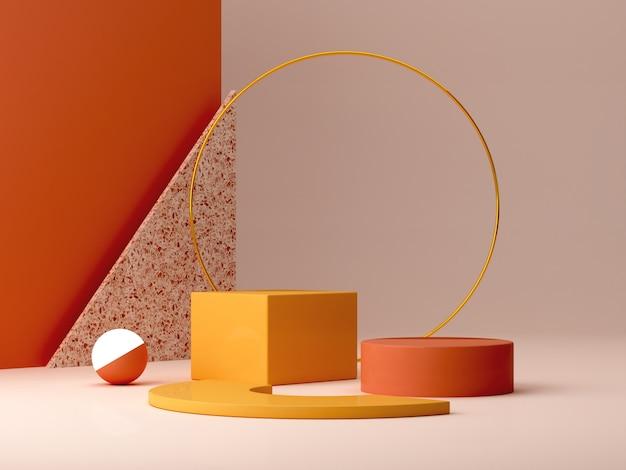 Pódio mínimo em cores ocres. cena com formas geométricas. anel de ouro, parede de tijoleira, esfera com luz e caixas. laranja e amarela, cena de outono. Foto Premium
