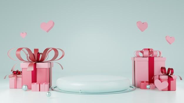 Pódio mostrando produtos em azul claro com elemento de coração, bola e caixa de presente. ilustração de plano de fundo para o conceito de dia dos namorados. renderização 3d. Foto Premium