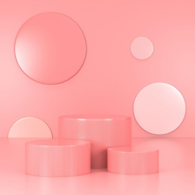 Pódio rosa mínimo. cena de parede rosa. pastel. renderização em 3d. Foto Premium