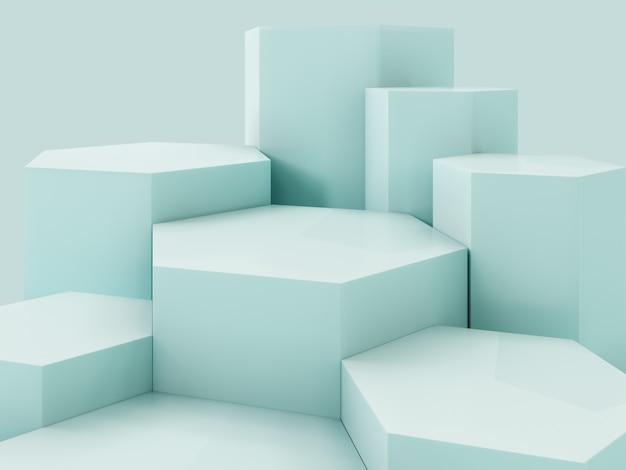 Pódio verde da exposição do produto de lihgt, fundo abstrato Foto Premium