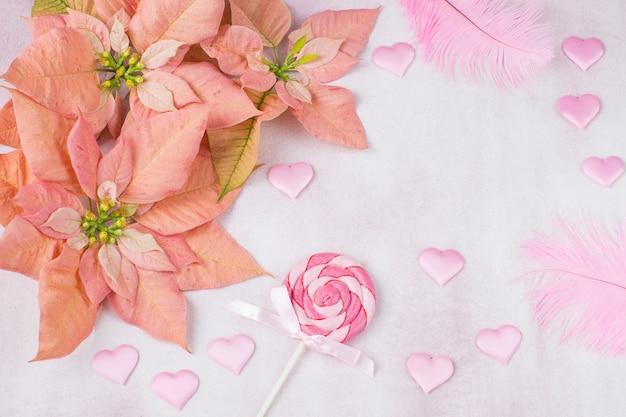 Poinsétia rosa, corações de cetim rosa, doces no palito e penas Foto Premium