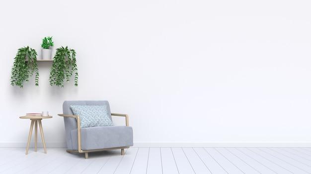 Poltrona de sala de estar e plantas ornamentais com no chão ao lado da parede Foto Premium