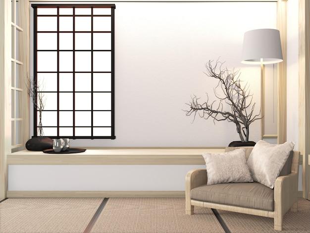 Poltrona do sofá no zen da sala com assoalho do tatami e estilo japonês da decoração. renderização em 3d Foto Premium