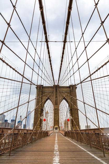 Ponte de brooklyn, ninguém, cidade de nova york, eua Foto Premium