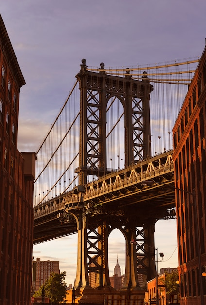 Ponte manhattan, em, rua brooklyn, nova iorque, eua Foto Premium