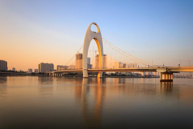 Ponte moderna no rio zhujiang e moderno edifício do distrito financeiro na cidade de guangzhou Foto Premium