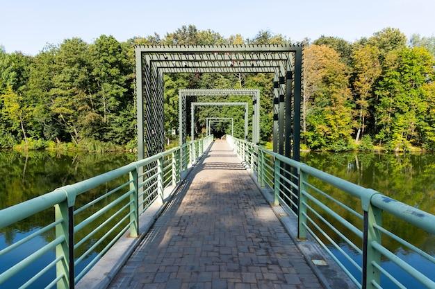 Ponte pedonal sobre o rio no rio com árvores e reflexo na água. Foto Premium