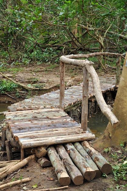 Ponte velha de madeira Foto Premium