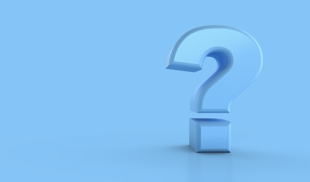 Ponto de interrogação em azul. conceito de confusão, pergunta ou solução, renderização em 3d Foto Premium