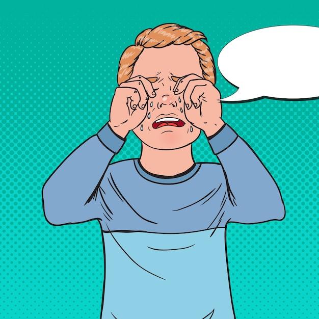 Pop art chateado garotinho chorando. criança triste chora com lágrimas Foto Premium