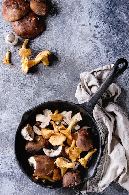 Porcini boletos e cogumelos chanterelles Foto Premium