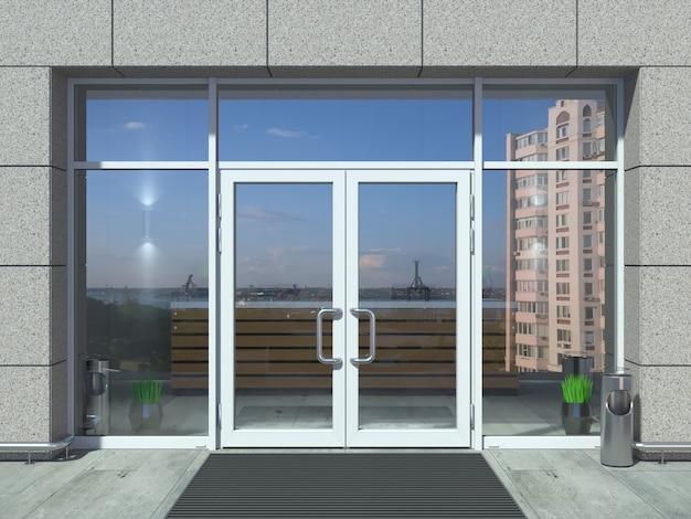 Porta de entrada de escritório branco moderno Foto Premium