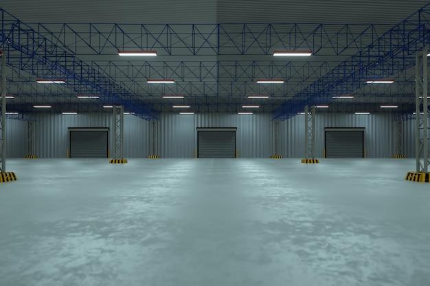 Porta do obturador do rolo e piso de concreto fora do edifício da fábrica para o fundo da indústria Foto Premium