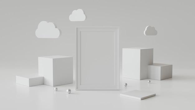 Porta-retrato em branco com pódio de cilindro. abstrato geométrico para exibição ou maquete. renderização em 3d. Foto Premium
