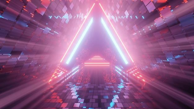 Portal de belas luzes de néon com linhas roxas e azuis brilhantes em um túnel Foto gratuita