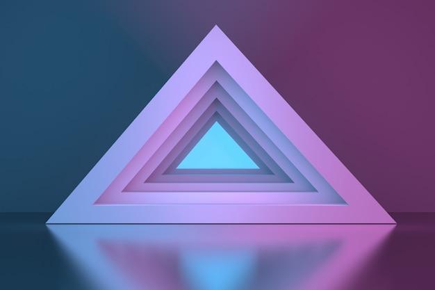 Portal do túnel da pirâmide triangular sobre a superfície do espelho Foto Premium