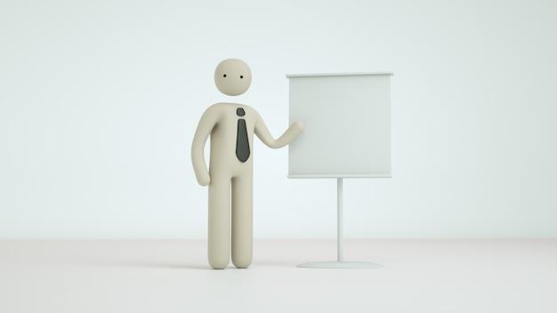 Pose de personagem 3d render negócios pictograma Foto Premium