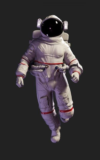 Pose do astronauta da ilustração 3d contra isolado no fundo preto com trajeto de grampeamento. Foto Premium