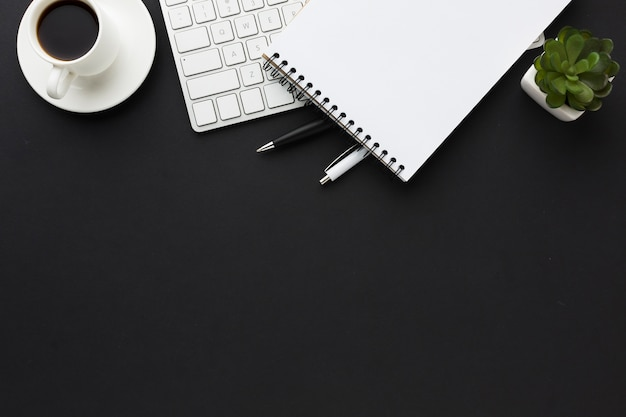 Postura plana da área de trabalho com notebook e suculenta Foto gratuita