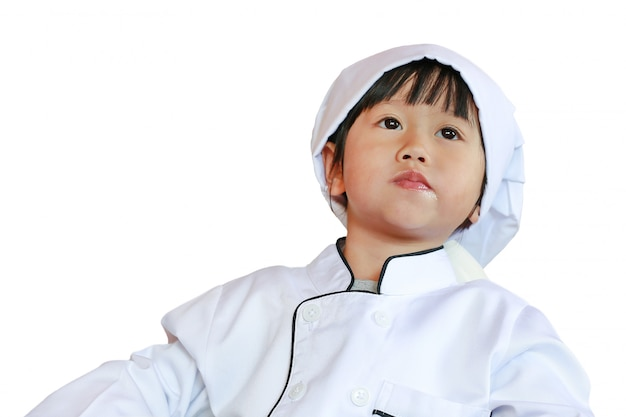 Pouco chefe é aprender a comer comida saborosa, isolada no fundo branco Foto Premium