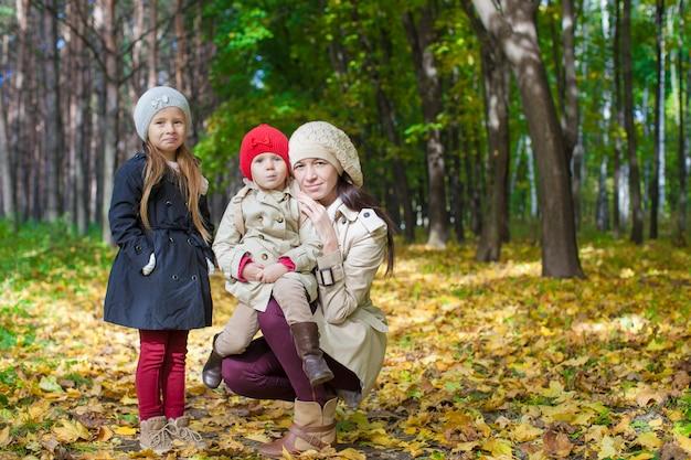 Pouco fofinho meninas e jovem mãe no parque do outono se divertir Foto Premium